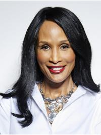 """Straight Black Long 16"""" Synthetic Comfortable Beverly Johnson Wigs"""
