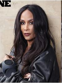 "Wavy Black Long 18"" Synthetic Durable Beverly Johnson Wigs"