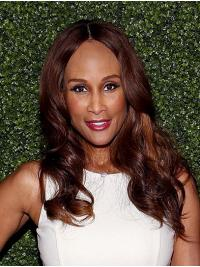 "Wavy Brown Long 18"" Synthetic Ladies Beverly Johnson Wigs"