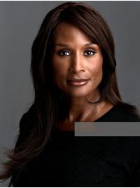 "Straight Brown Long 18"" Synthetic Sassy Beverly Johnson Wigs"