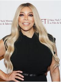 """Wavy Platinum Blonde Long 26"""" Synthetic New Wendy Williams Wigs"""