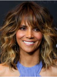 Great Shoulder Length Capless Synthetic With Bangs Halle Berry Wigs