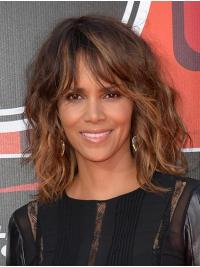 Exquisite Shoulder Length Lace Front Synthetic With Bangs Halle Berry Wigs
