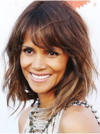 Suitable Shoulder Length Capless Synthetic With Bangs Halle Berry Wigs