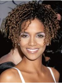 Natural Short Lace Front Synthetic Without Bangs Halle Berry Wigs