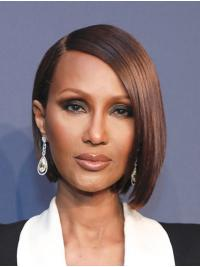 "Straight Chin Length Lace Front Auburn 10"" Bobs Synthetic Best Iman Wigs"