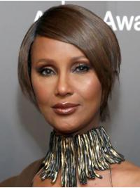 "Straight Short Lace Front Brown 8"" Bobs Synthetic Amazing Iman Wigs"