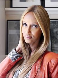 "Straight Long Lace Front Blonde 16"" Without Bangs Synthetic Fabulous Iman Wigs"