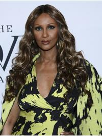 """Wavy Long Lace Front Brown 24"""" Without Bangs Synthetic Sleek Iman Wigs"""