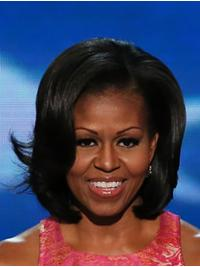 """Wavy Chin Length Lace Front Black 12"""" Bobs Remy Human Hair Modern Michelle Obama Wigs"""