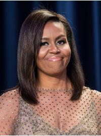 """Straight Shoulder Length Full Lace Brown 14"""" Without Bangs Remy Human Hair Top Michelle Obama Wigs"""