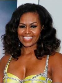 """Curly Shoulder Length Lace Front Black 14"""" Without Bangs Synthetic Stylish Michelle Obama Wigs"""