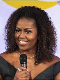 """Kinky Shoulder Length Lace Front Brown 14"""" Without Bangs Synthetic Trendy Michelle Obama Wigs"""