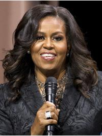 """Curly Shoulder Length Lace Front Black 16"""" Without Bangs Synthetic Comfortable Michelle Obama Wigs"""