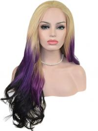 """22"""" Ombre/2 Tone Long Without Bangs Wavy Great Lace Wigs"""