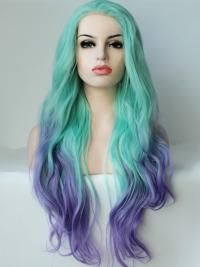 "22"" Ombre/2 Tone Long Without Bangs Wavy Ideal Lace Wigs"