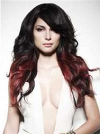 "Stylish Ombre/2 Tone Long Wavy With Bangs 22"" Human Lace Wigs"