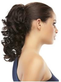 Clip On Ponytail Brown Color Curly Style With Synthetic