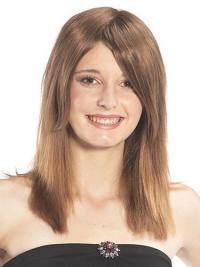 Sassy Straight Brown Long Human Hair Hairpieces
