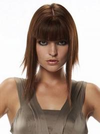 Human Hair Hairpieces Straight Style Long Length Auburn Color
