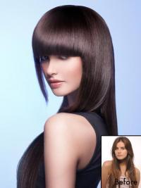 Remy Human Hair Auburn Clip In Fringe