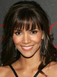 """Lace Front Wavy With Bangs Long Sleek 16"""" Halle Berry Wigs"""