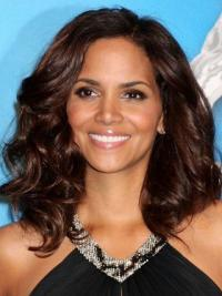 "Lace Front Wavy Layered Shoulder Length Best 14"" Halle Berry Wigs"