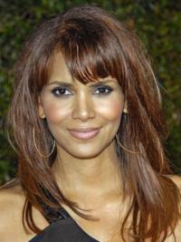 """Full Lace Straight With Bangs Long Top 16"""" Halle Berry Wigs"""
