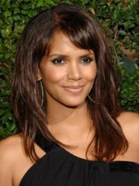 "Lace Front Straight With Bangs Long Stylish 16"" Halle Berry Wigs"