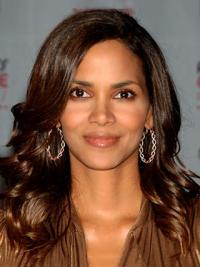 """Lace Front Wavy Without Bangs Long Durable 16"""" Halle Berry Wigs"""