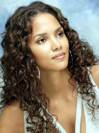 """Lace Front Curly Without Bangs Long Ideal 18"""" Halle Berry Wigs"""