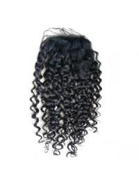 Lace Closures Curly Style Black Color Long Length With Remy