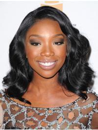 Wavy Lace Front Without Bangs Shoulder Length Black Great Jennifer Hudson Wigs