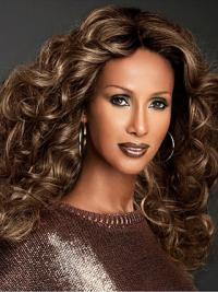 "Long Curly Lace Front Brown 22"" Fashionable Iman Wigs"
