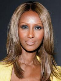"Shoulder Length Straight Lace Front Brown 16"" Gorgeous Iman Wigs"