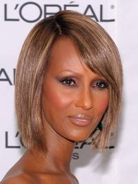"""Chin Length Straight Lace Front Brown 10"""" Style Iman Wigs"""