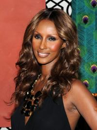 "Long Wavy Lace Front Brown 18"" Cheapest Iman Wigs"