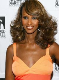 "Shoulder Length Wavy Lace Front Brown 14"" Popular Iman Wigs"