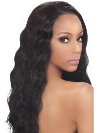 Black Wavy Human Hair With Capless Wavy Style Long Length