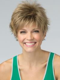 Short Pixie Cut Synthetic Wig Blonde Color Cropped Length Boycuts