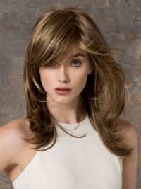 Lace Front With Bangs Long Length Brown Color Straight Style