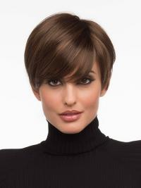 Lace Front Wigs Cropped Length Brown Color Straight Style Boycuts