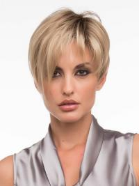 Monofilament Wig Sale Layered Cut With Synthetic Blonde Color Cropped Length