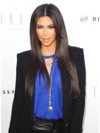 "Brown Long Straight Capless Best 25"" Kim Kardashian Wigs"