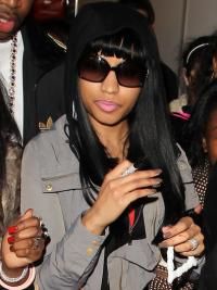 "22"" Black Straight With Bangs Long Sassy Nicki Minaj Wigs"