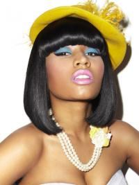 "11"" Black Straight With Bangs Shoulder Length Cheap Nicki Minaj Wigs"