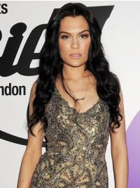 "24"" Modern Black Long Wavy Without Bangs Jessie J Wigs"