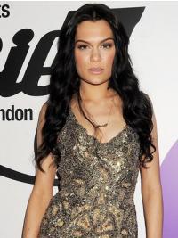 "24"" Modern Black Long Wavy Without Bangs Jessie J Wigs"