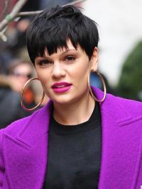 "4.5"" Best Black Cropped Straight Boycuts Jessie J Wigs"