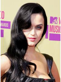 """25"""" Suitable Black Long Wavy Without Bangs Katy Perry Wigs"""